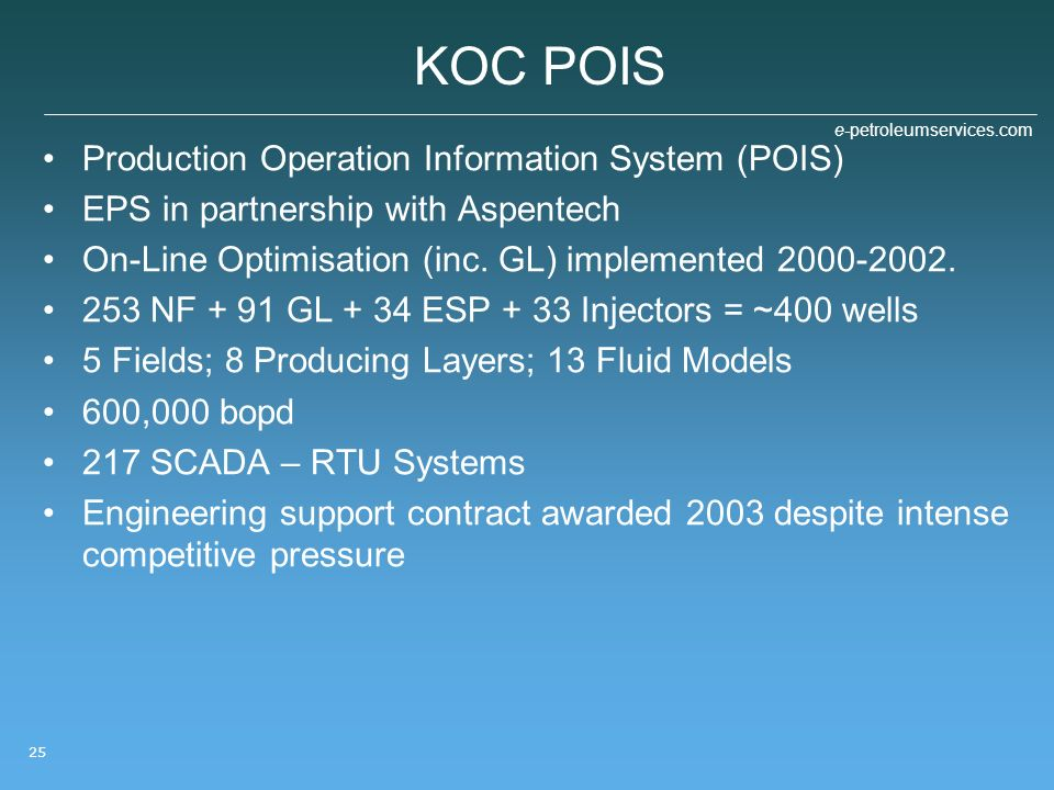 KOC POIS Production Operation Information System (POIS)