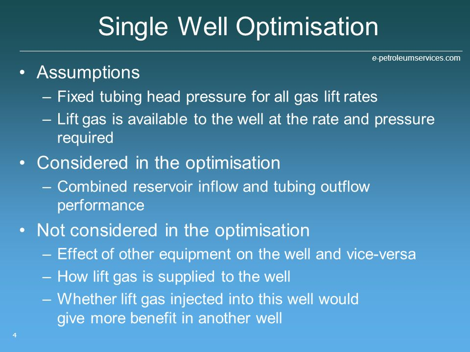 Single Well Optimisation