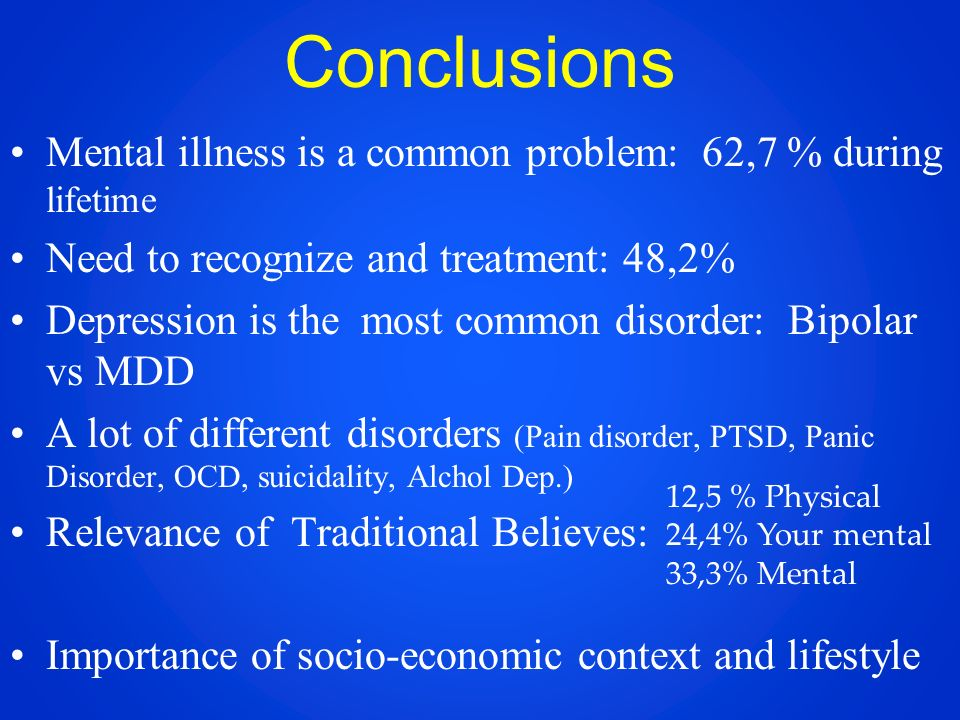 Conclusions Mental illness is a common problem: 62,7 % during lifetime