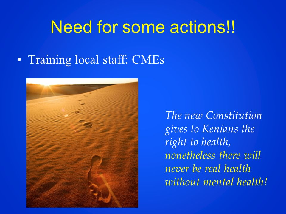 Need for some actions!! Training local staff: CMEs