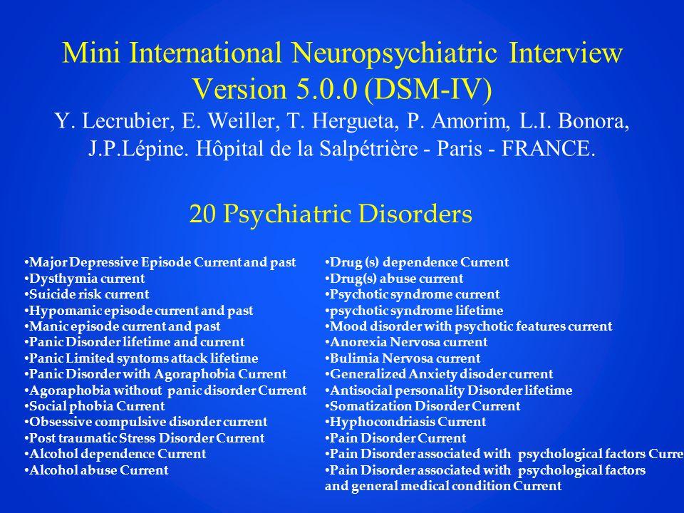 Mini International Neuropsychiatric Interview Version 5. 0 (DSM-IV) Y