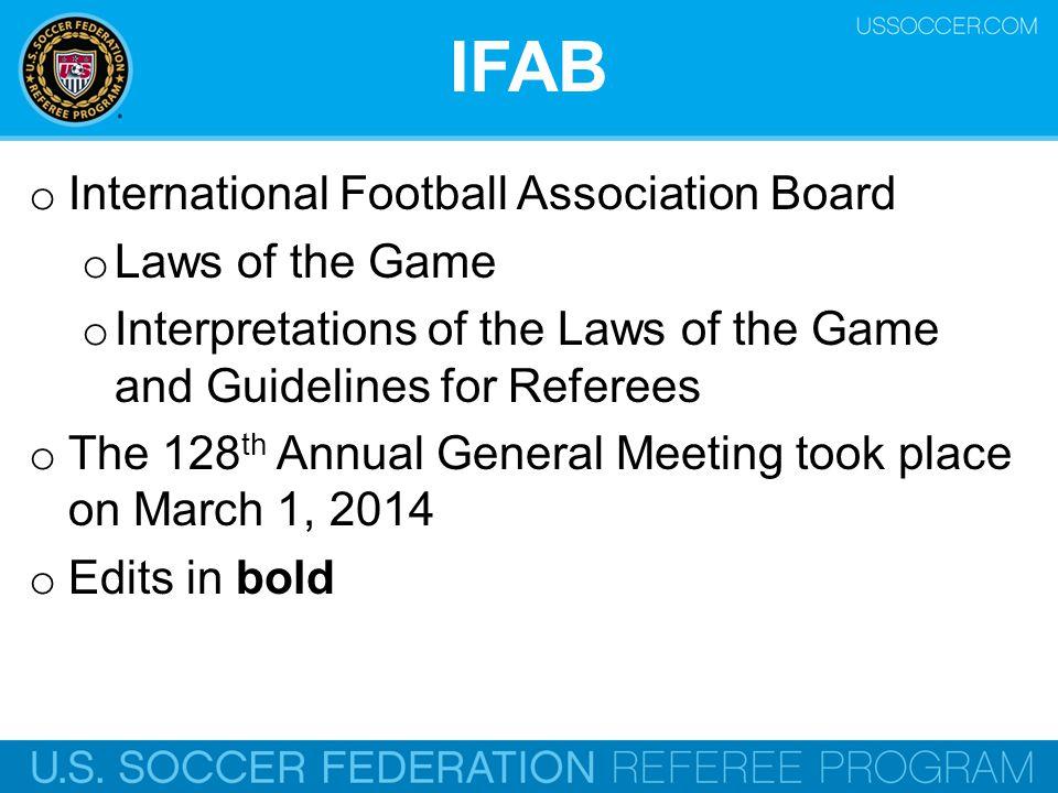 IFAB International Football Association Board Laws of the Game