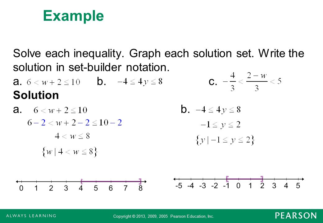 Example Solve each inequality. Graph each solution set.