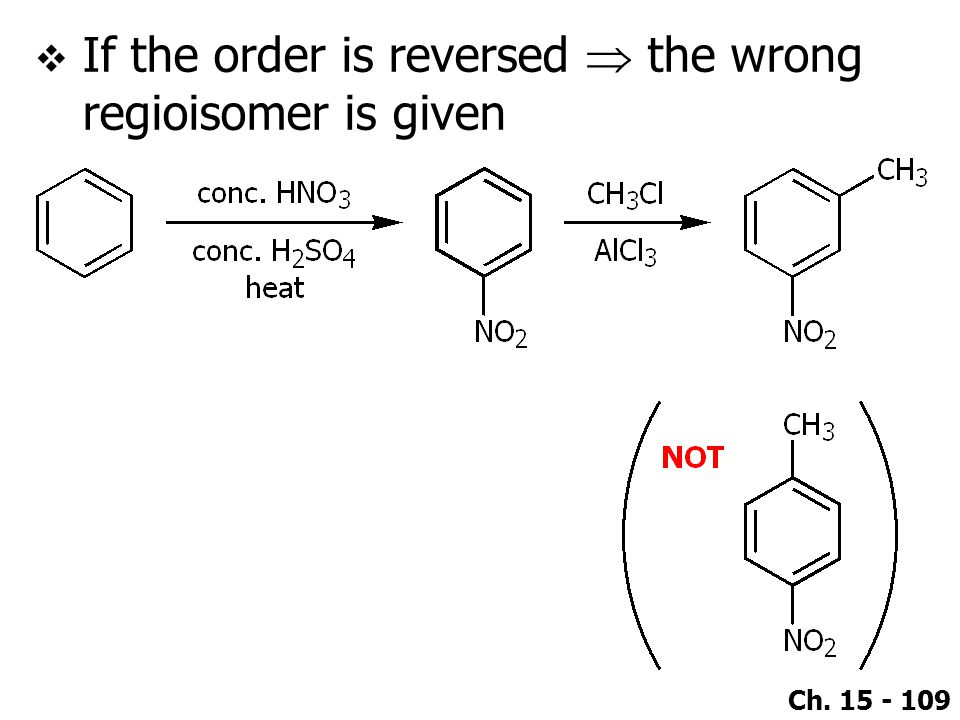 If the order is reversed  the wrong regioisomer is given