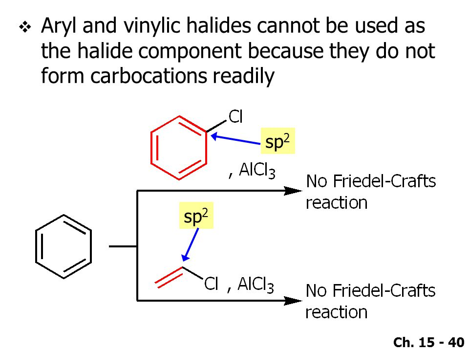 Aryl and vinylic halides cannot be used as the halide component because they do not form carbocations readily