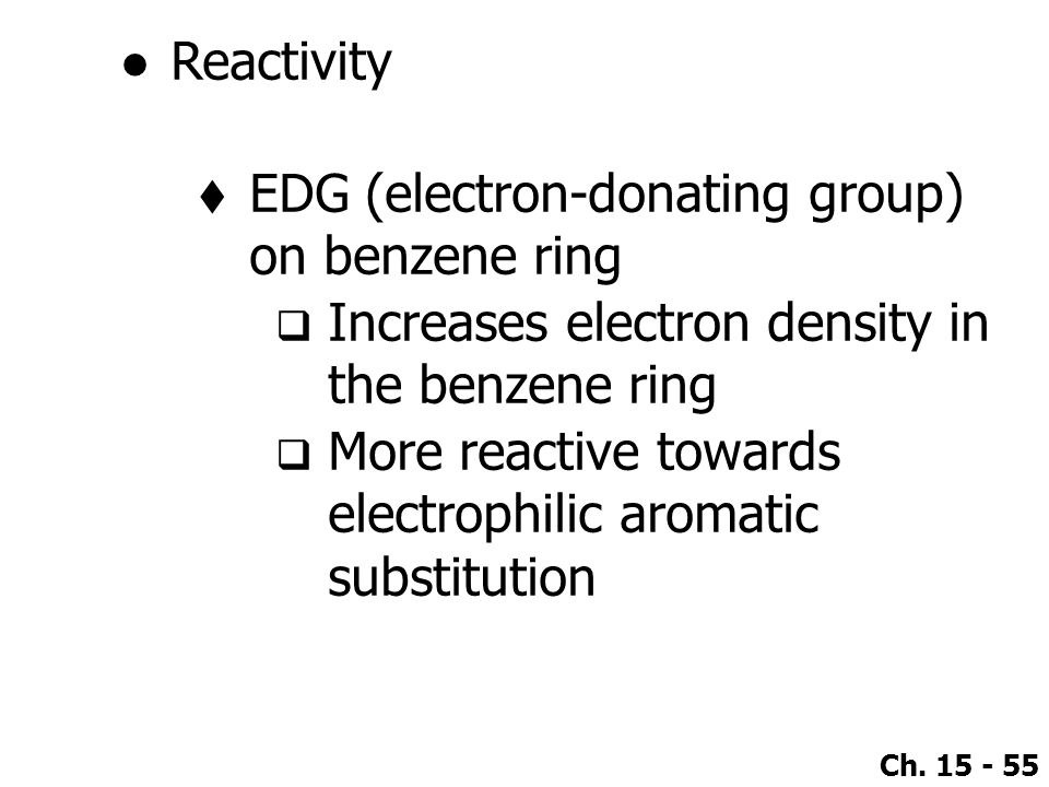Reactivity EDG (electron-donating group) on benzene ring. Increases electron density in the benzene ring.