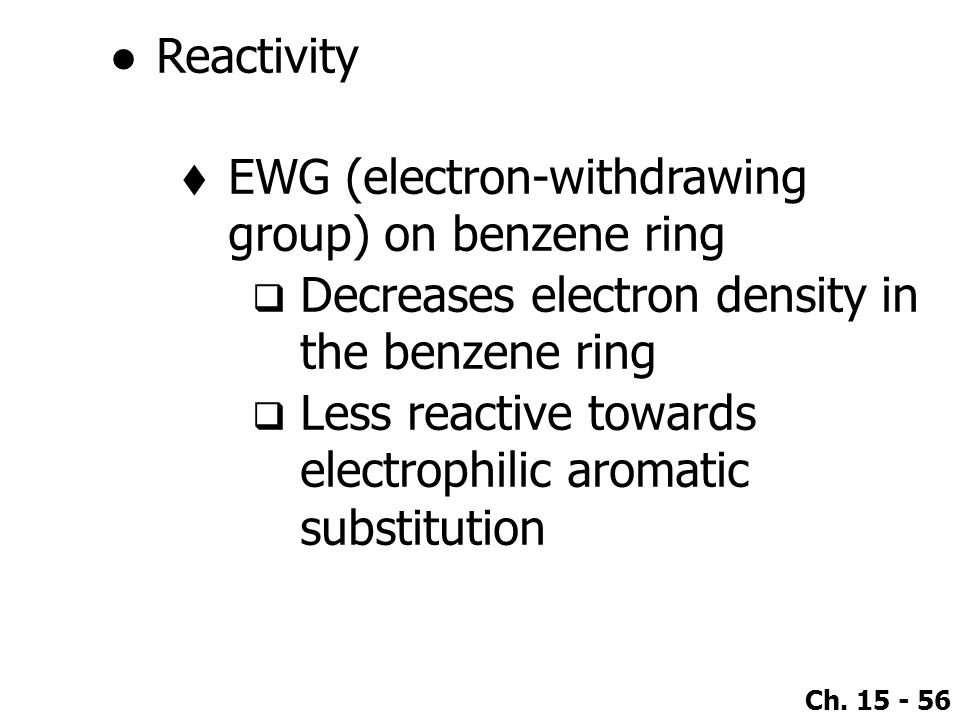 Reactivity EWG (electron-withdrawing group) on benzene ring. Decreases electron density in the benzene ring.