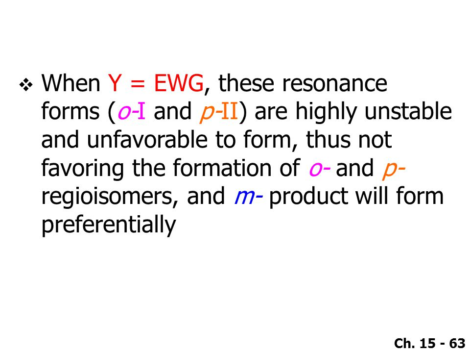 When Y = EWG, these resonance forms (o-I and p-II) are highly unstable and unfavorable to form, thus not favoring the formation of o- and p- regioisomers, and m- product will form preferentially