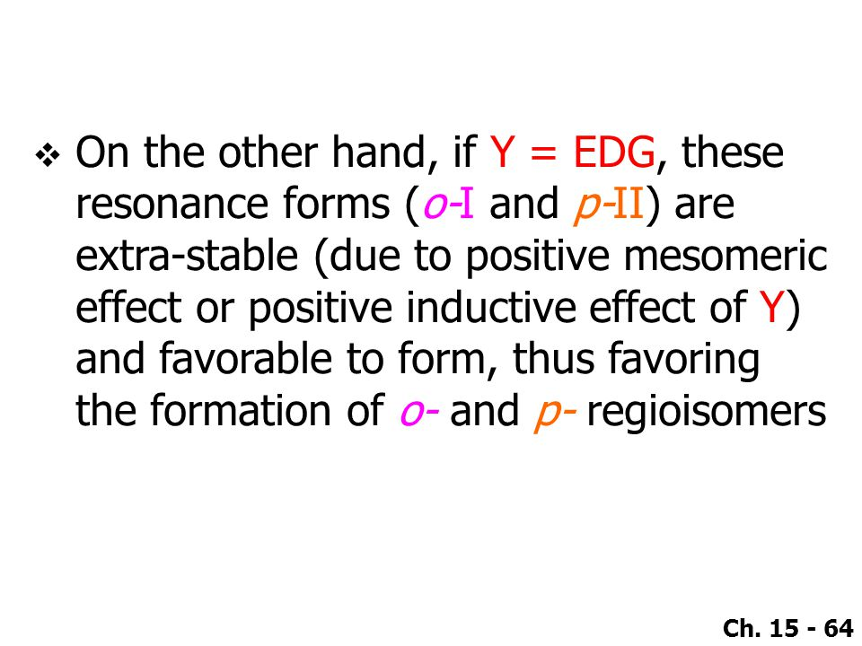 On the other hand, if Y = EDG, these resonance forms (o-I and p-II) are extra-stable (due to positive mesomeric effect or positive inductive effect of Y) and favorable to form, thus favoring the formation of o- and p- regioisomers
