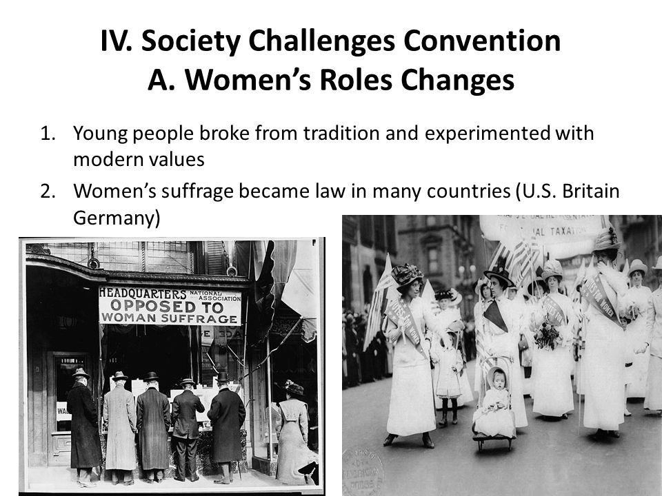 IV. Society Challenges Convention A. Women's Roles Changes