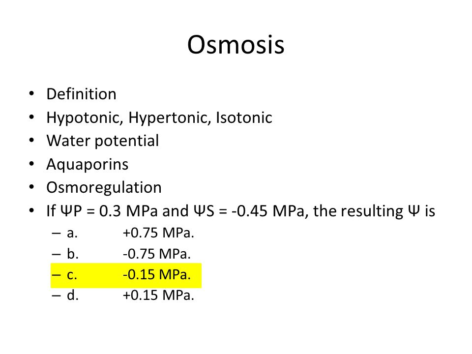 Osmosis Definition Hypotonic, Hypertonic, Isotonic Water potential