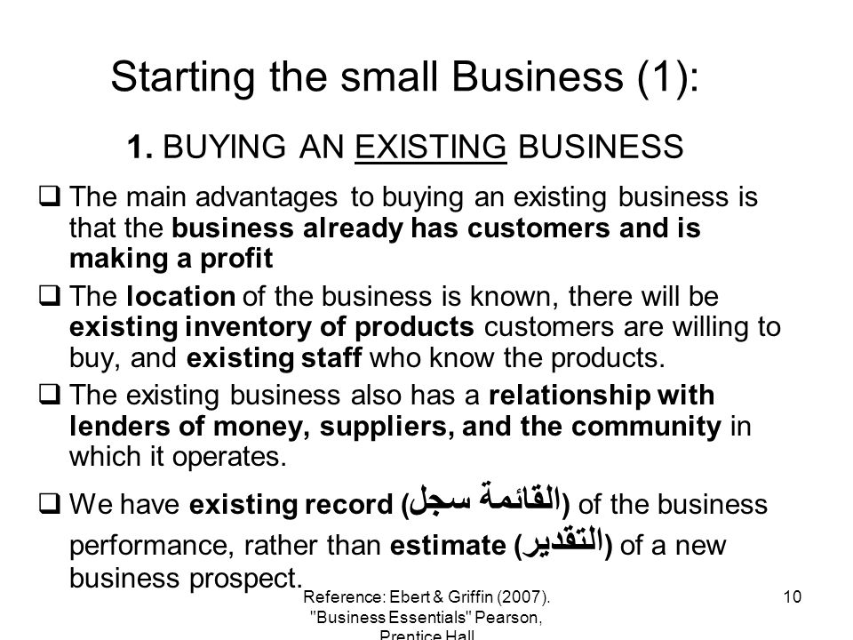 1. BUYING AN EXISTING BUSINESS