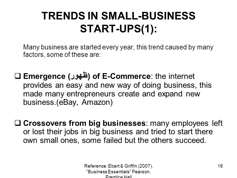 TRENDS IN SMALL-BUSINESS START-UPS(1):