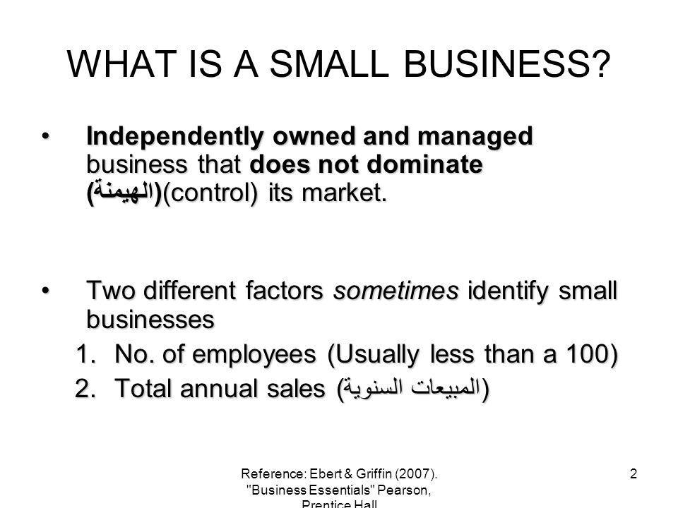 WHAT IS A SMALL BUSINESS