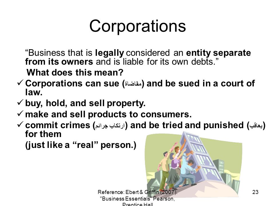 Corporations Business that is legally considered an entity separate from its owners and is liable for its own debts.