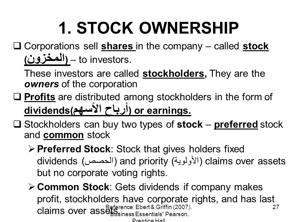 1. STOCK OWNERSHIP Corporations sell shares in the company – called stock (المخزون) – to investors.