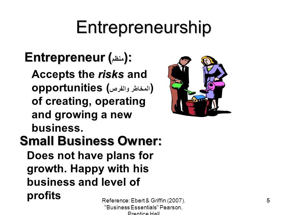 Entrepreneurship Entrepreneur (منظم): Small Business Owner: