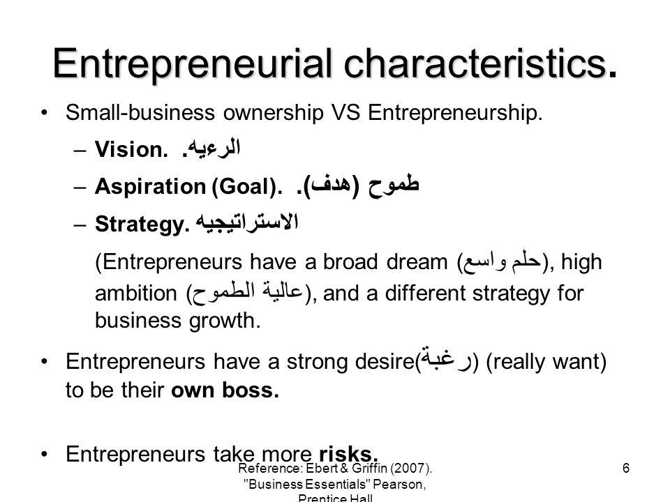 Entrepreneurial characteristics.