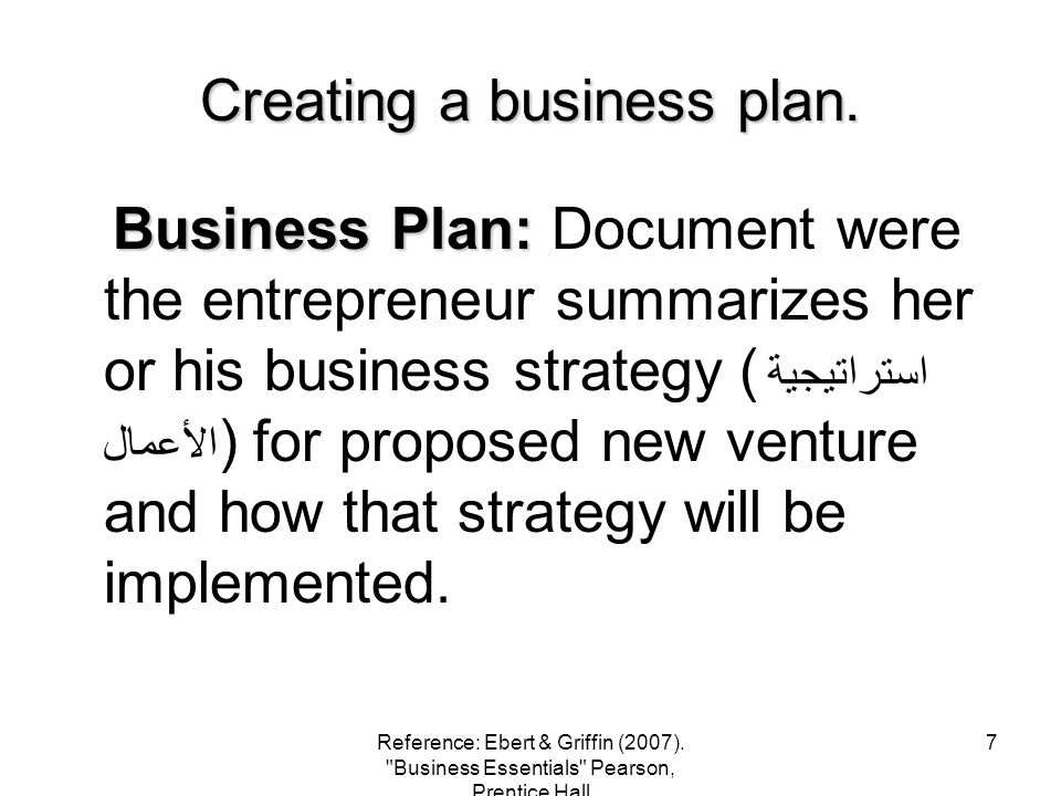 Creating a business plan.