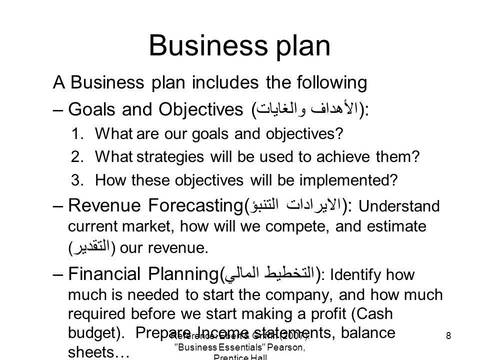 Business plan A Business plan includes the following