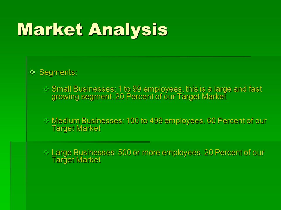 Market Analysis Segments: