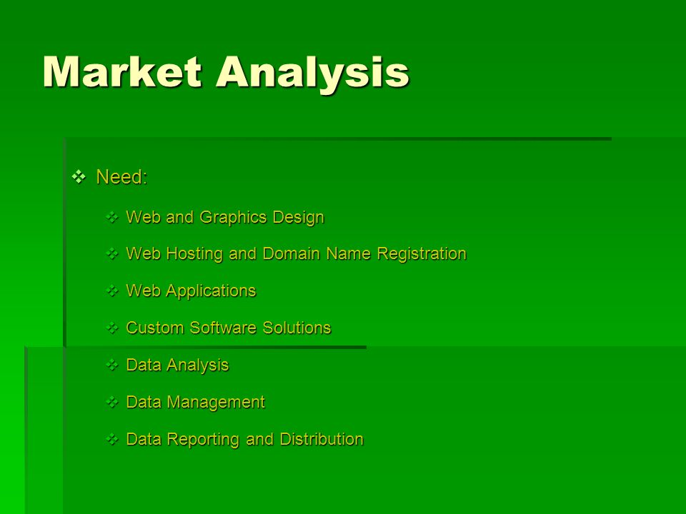 Market Analysis Need: Web and Graphics Design