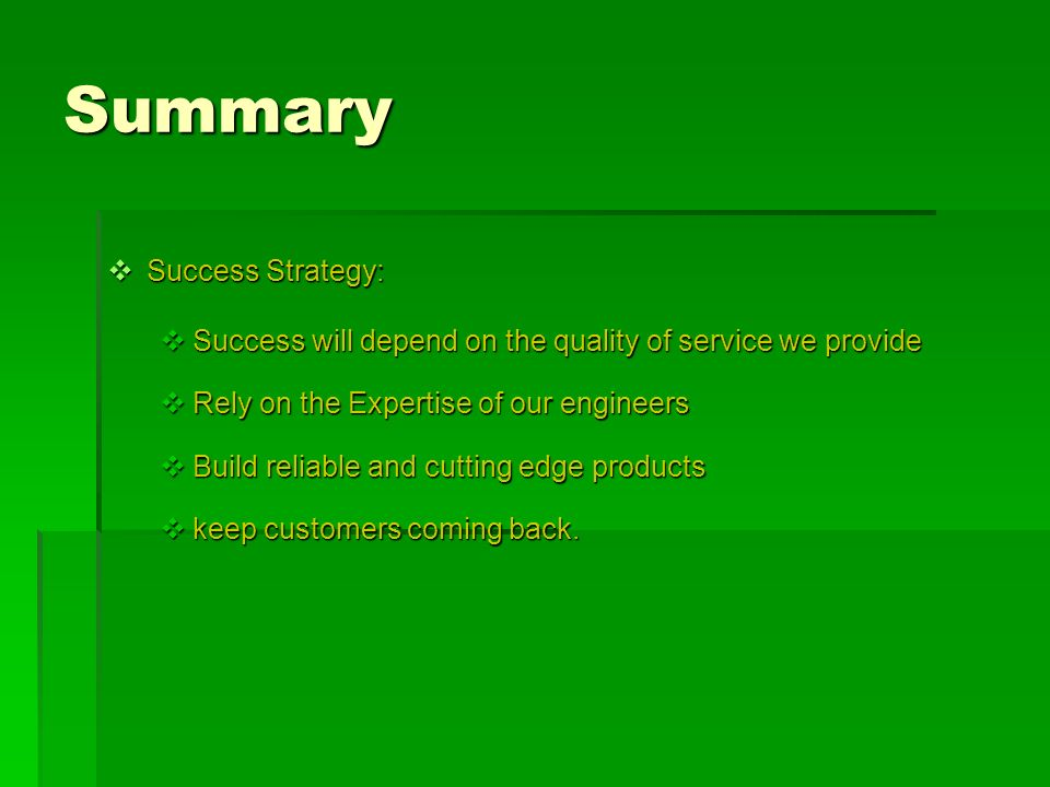 Summary Success Strategy: