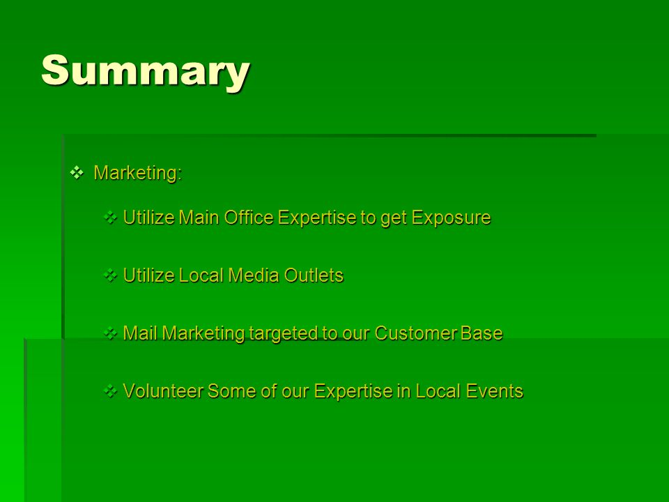 Summary Marketing: Utilize Main Office Expertise to get Exposure