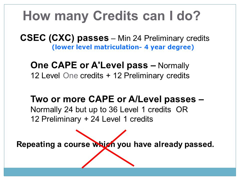 How many Credits can I do (lower level matriculation- 4 year degree)
