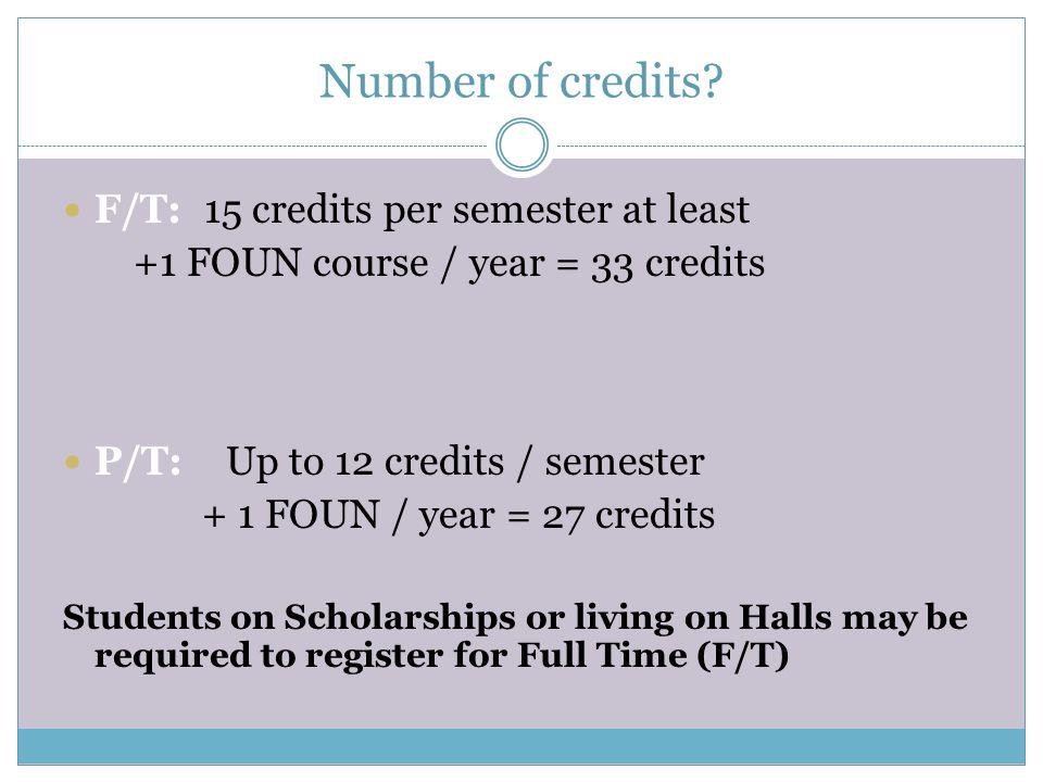 Number of credits F/T: 15 credits per semester at least