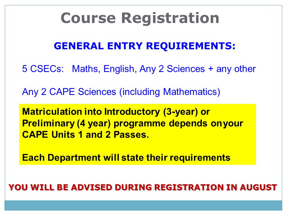GENERAL ENTRY REQUIREMENTS: