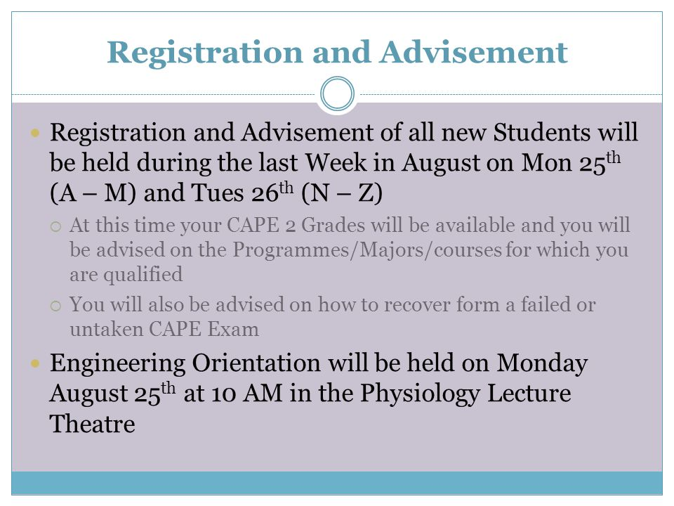 Registration and Advisement