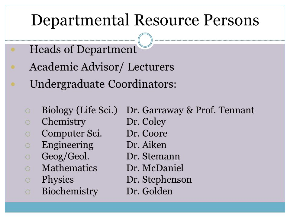 Departmental Resource Persons