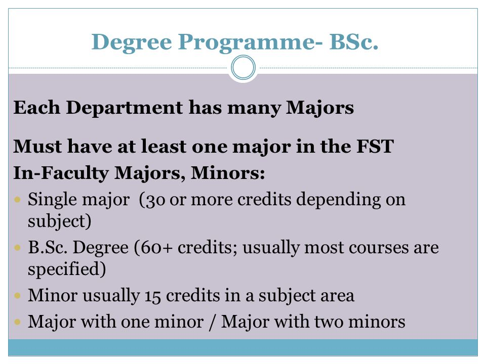 Degree Programme- BSc. Each Department has many Majors