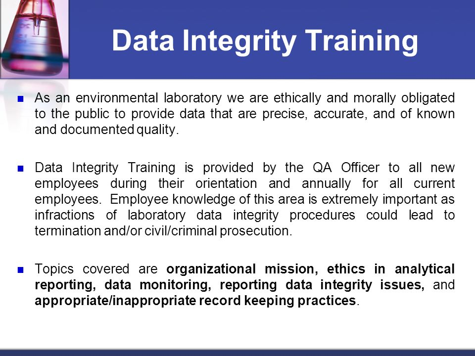 Data Integrity Training