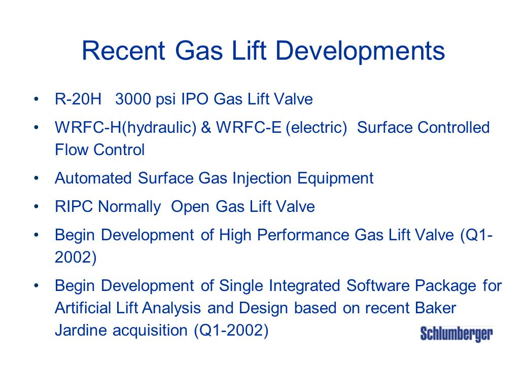 Recent Gas Lift Developments