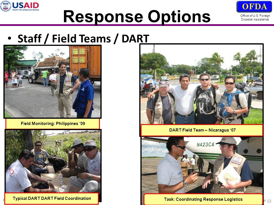 Response Options Staff / Field Teams / DART OFDA