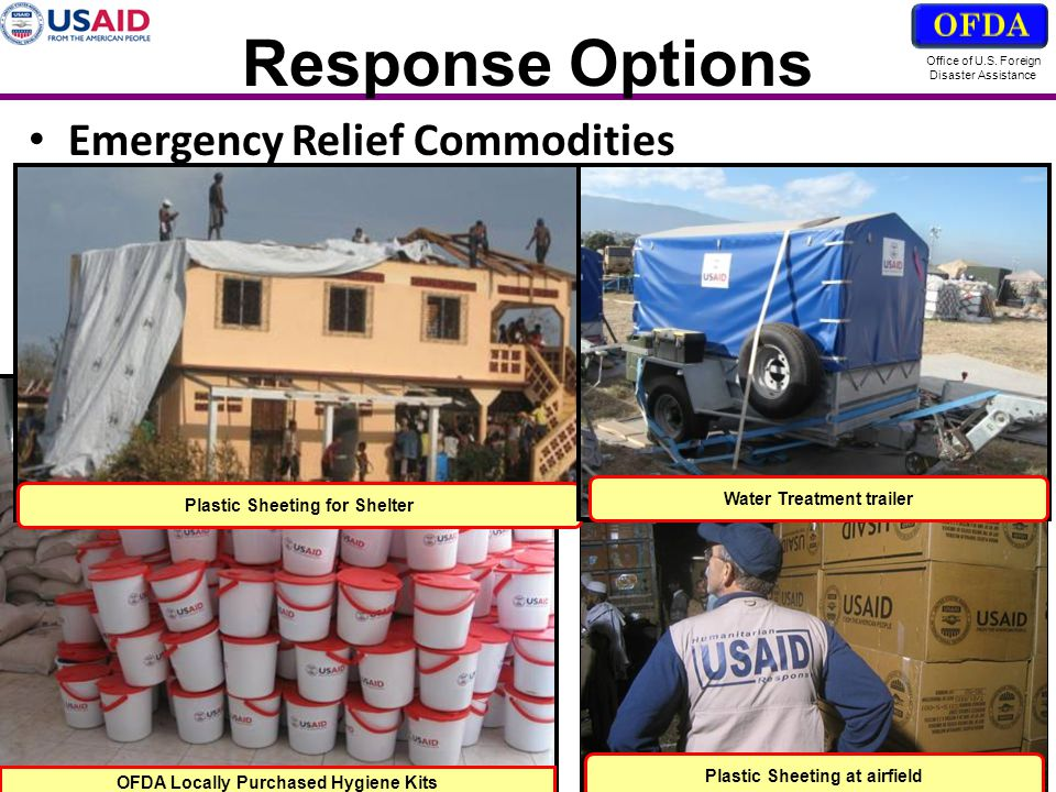 Response Options Emergency Relief Commodities OFDA