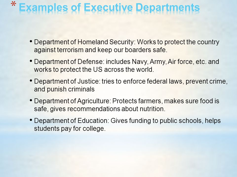 Examples of Executive Departments