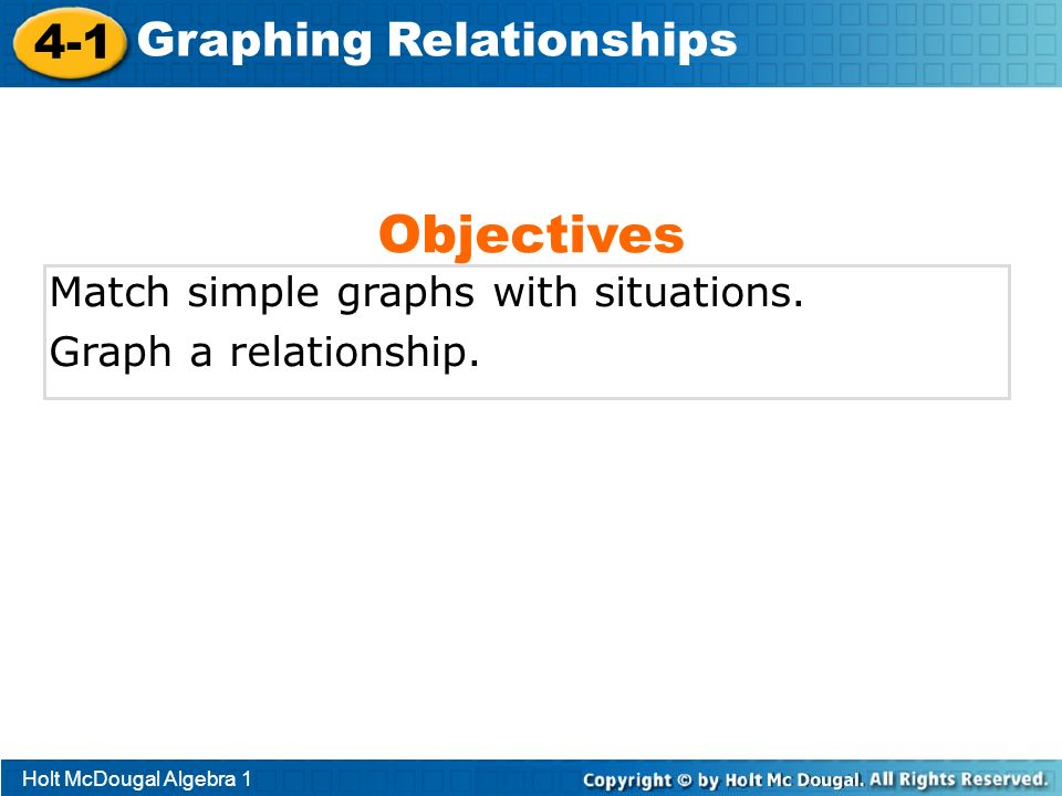 Objectives 4-1 Graphing Relationships