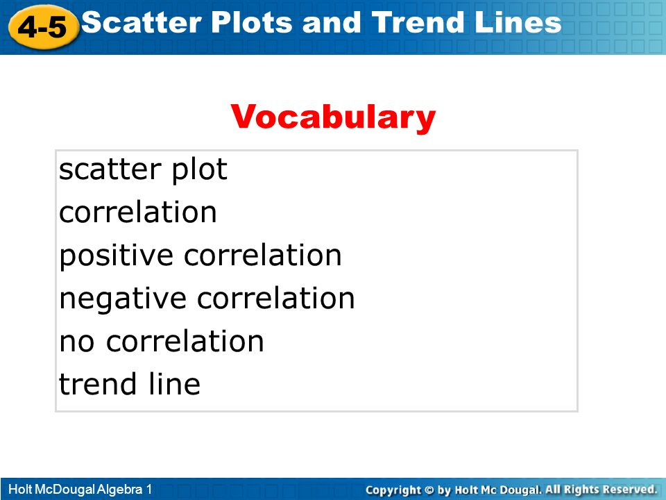 Vocabulary 4-5 Scatter Plots and Trend Lines scatter plot correlation
