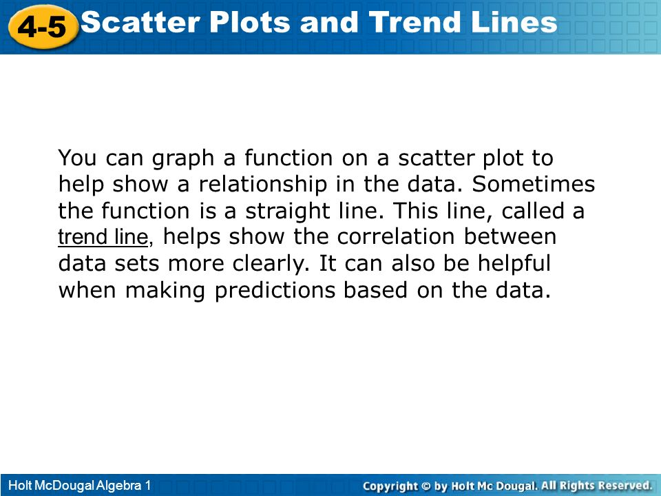 Scatter Plots and Trend Lines