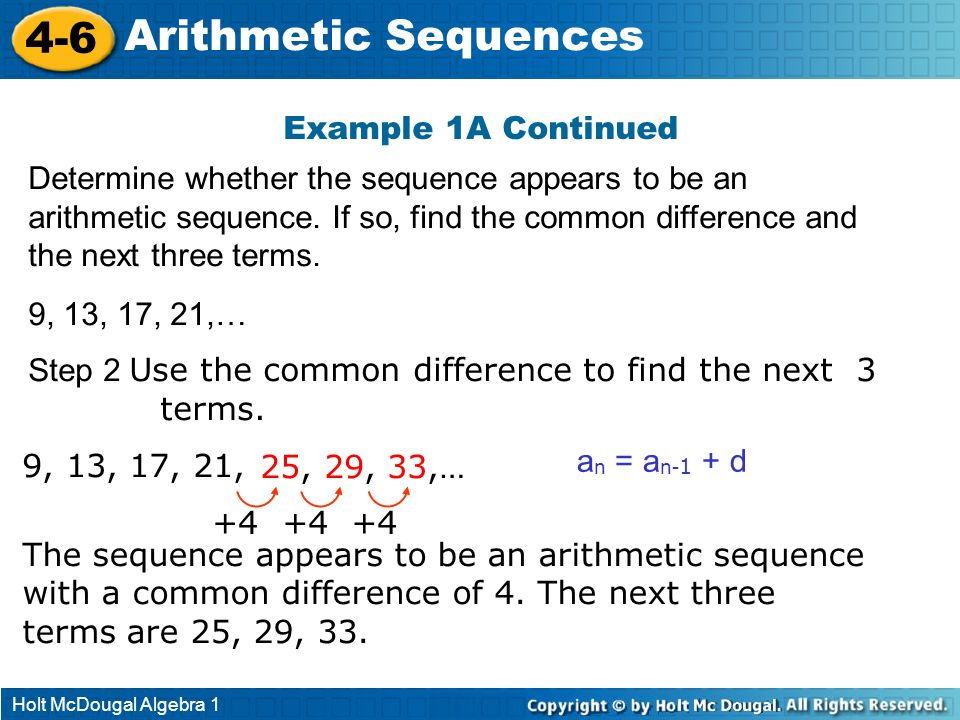 4-6 Arithmetic Sequences Example 1A Continued