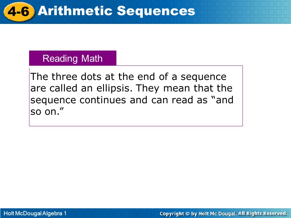 4-6 Arithmetic Sequences Reading Math