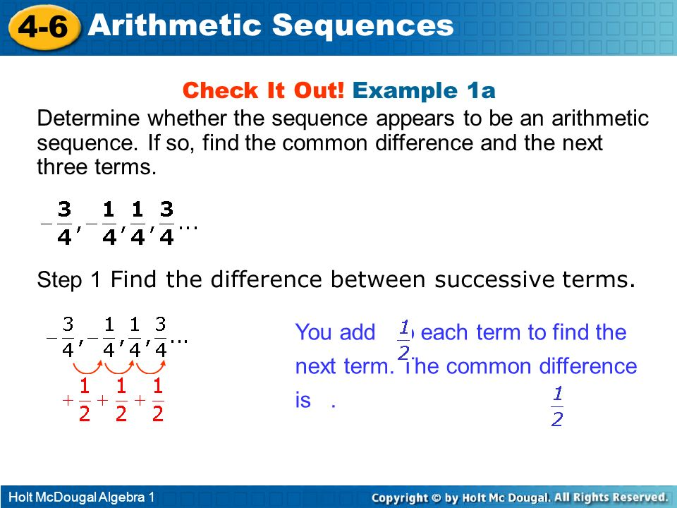 4-6 Arithmetic Sequences Check It Out! Example 1a