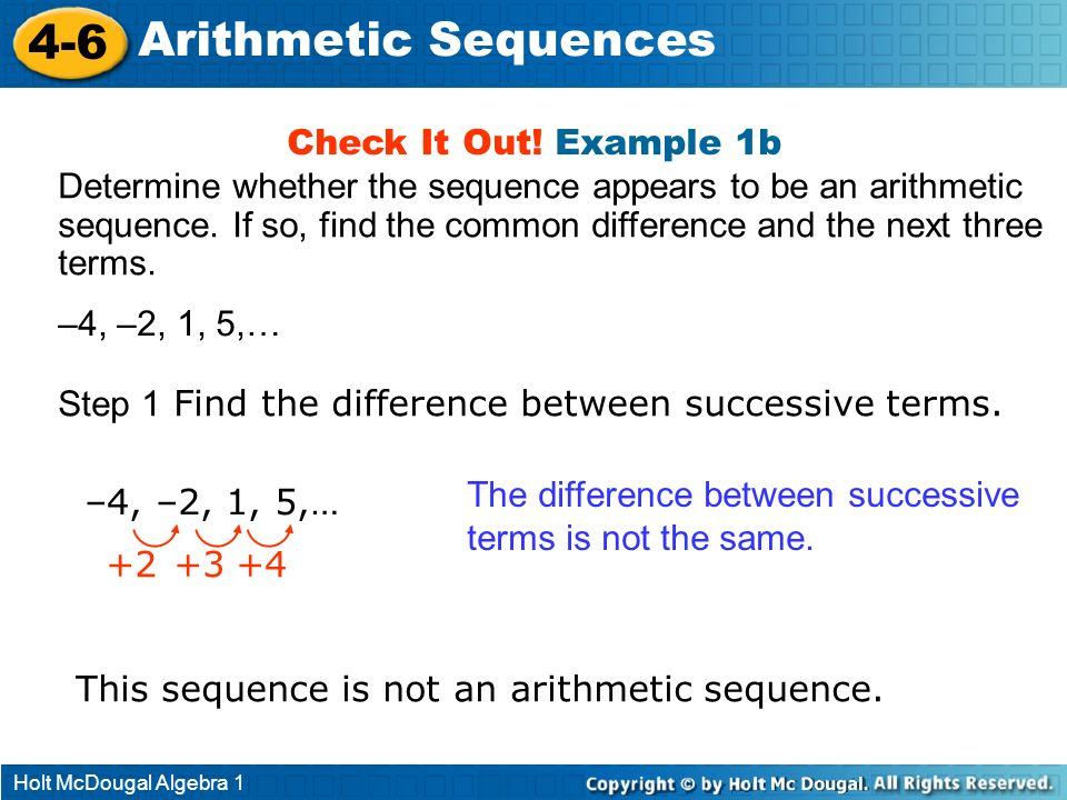 4-6 Arithmetic Sequences Check It Out! Example 1b