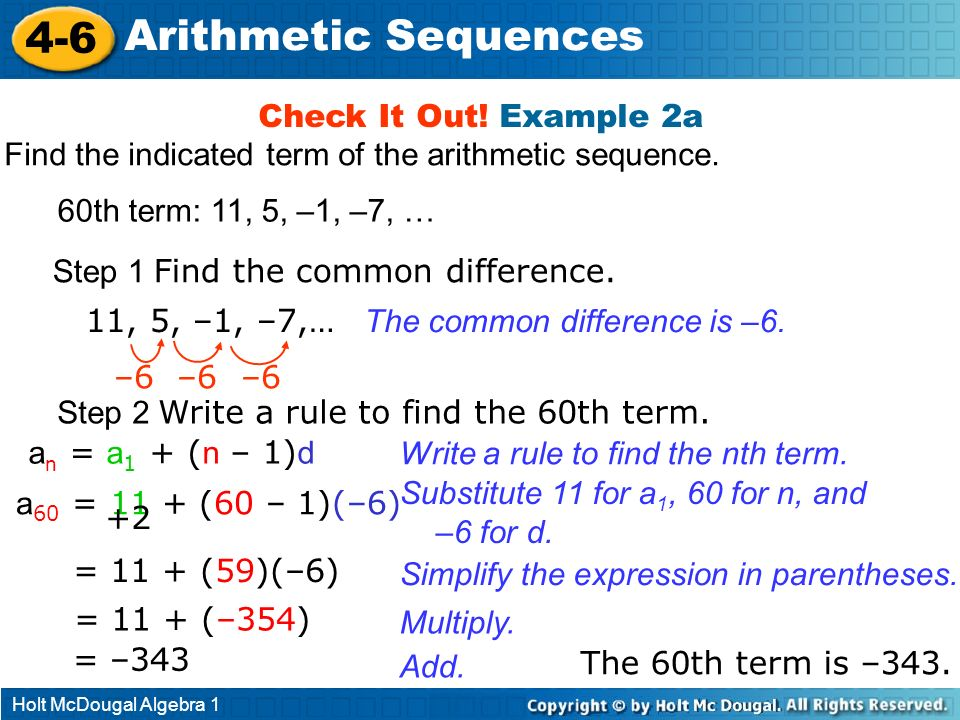 4-6 Arithmetic Sequences Check It Out! Example 2a