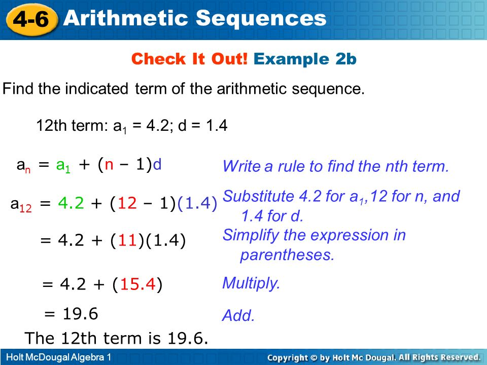 4-6 Arithmetic Sequences Check It Out! Example 2b