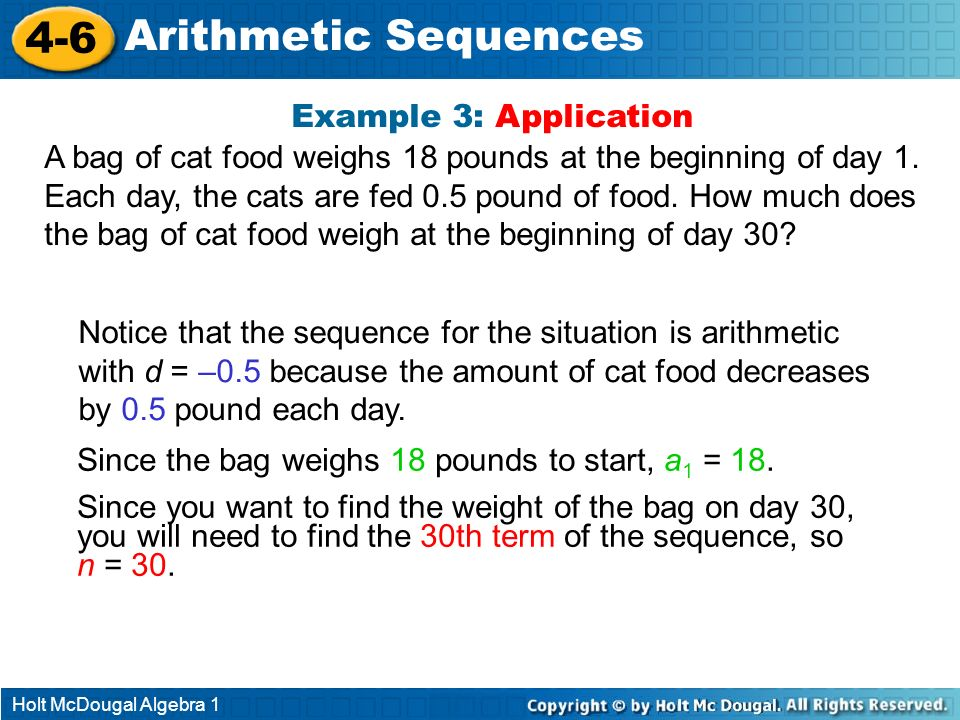 4-6 Arithmetic Sequences Example 3: Application
