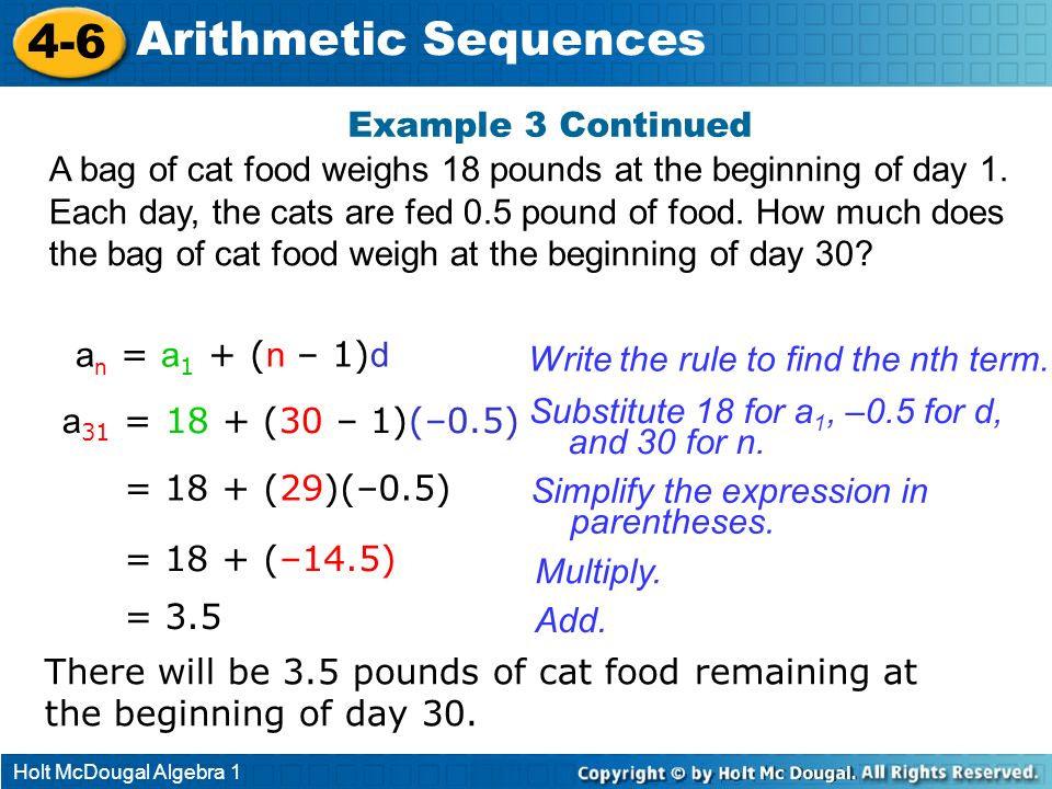 4-6 Arithmetic Sequences Example 3 Continued